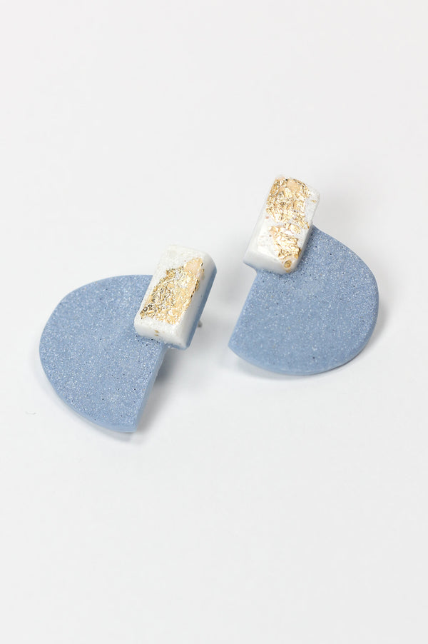 Nakiri, graphic statement studs in pastel blue and white resin and gold leaf