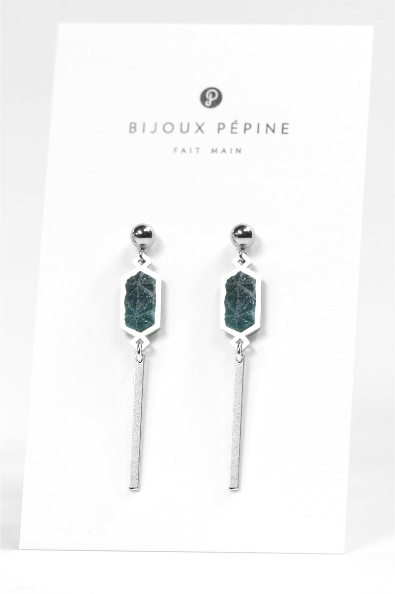 Nova, dangling stud earrings in forest green resin and hypoallergenic stainless steel