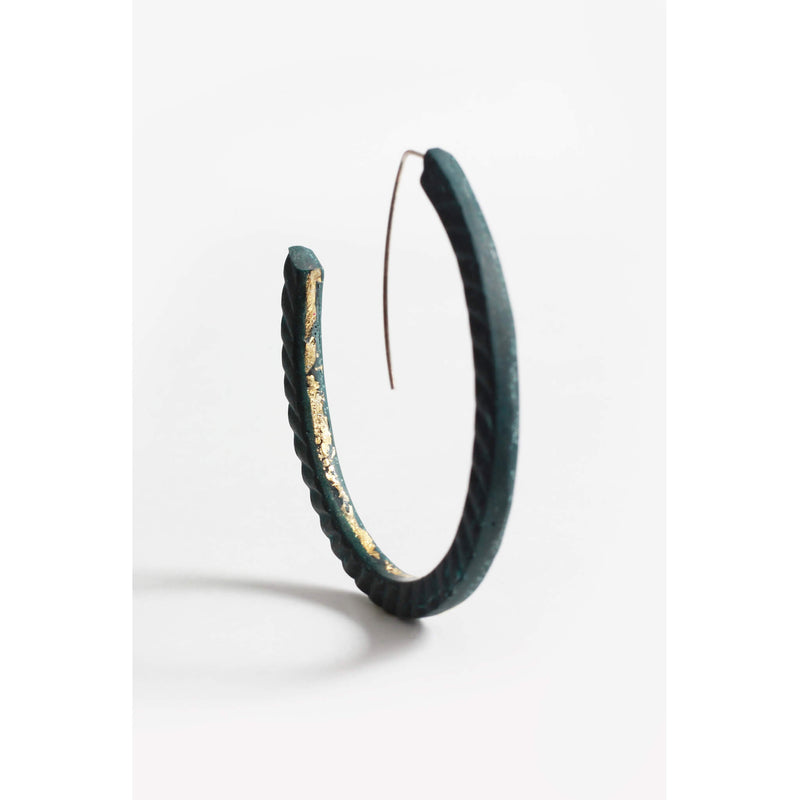 Ouroboros, light hoop earrings in forest green resin, gold leaf and hypoallergenic stainless steel