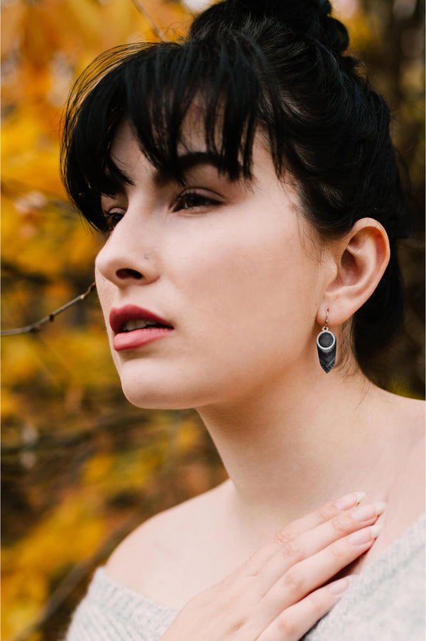 fashion model wearing Montreal jewelry designer Bijoux Pépine's handmade Panache earrings in black