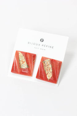 Parfait, large square stud earrings handmade with coral red resin and gold leaf