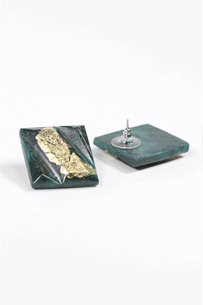 Parfait, large square stud earrings handmade with forest green resin and gold leaf