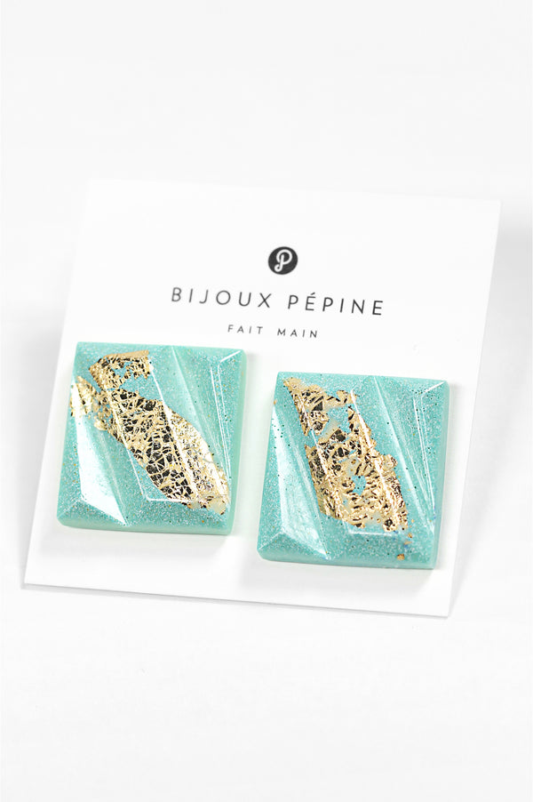Parfait, large square stud earrings handmade with mint green resin and gold leaf