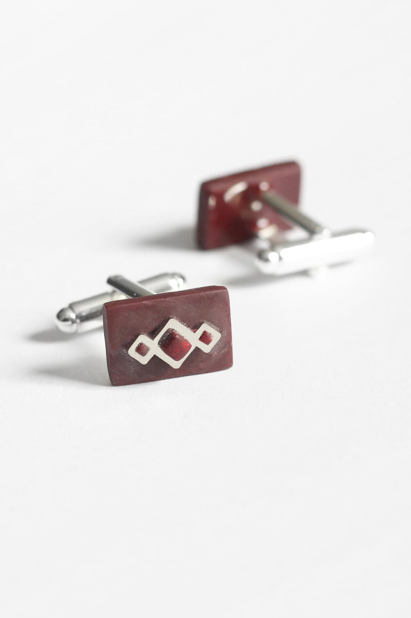 Pineale, geometric cufflinks handmade in Montreal with burgundy red resin and hypoallergenic stainless steel