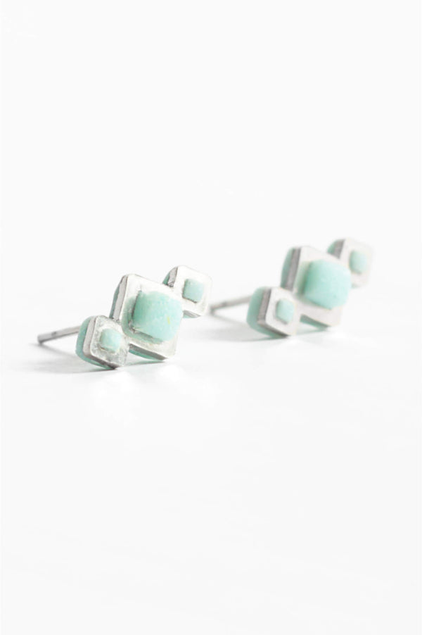 Pineale, small geometric studs handmade with mint green resin and hypoallergenic stainless steel