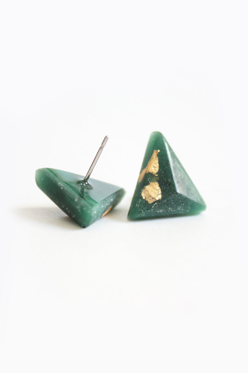 Pyramide, medium-sized triangular studs handmade in Montreal with forest green resin and gold leaf
