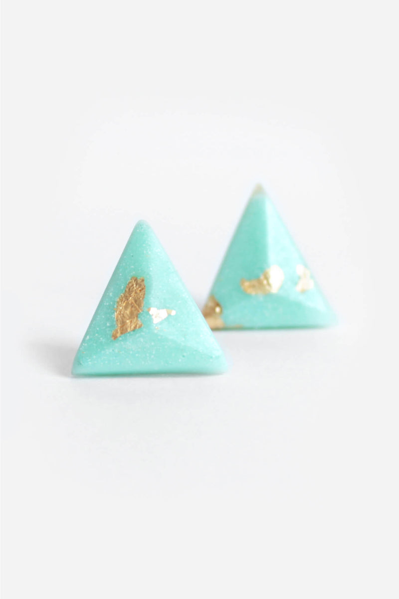 Pyramide, medium-sized triangular studs handmade in Montreal with mint green resin and gold leaf