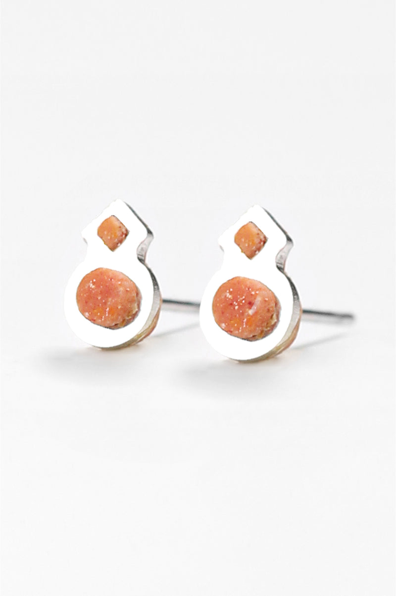 Rose des Vents, small studs handmade in Montreal with coral red resin and hypoallergenic stainless steel