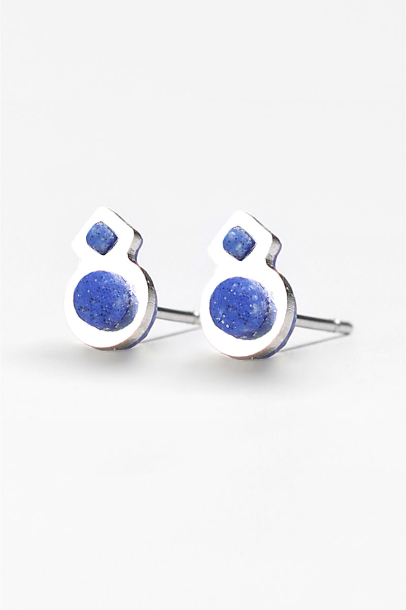 Rose des Vents, small studs handmade in Montreal with classic blue resin and hypoallergenic stainless steel
