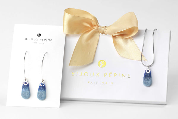 Rosée jewellery set parure with earrings sand teardrop adjustable length necklace in indigo blue color resin and hypoallergenic stainless steel