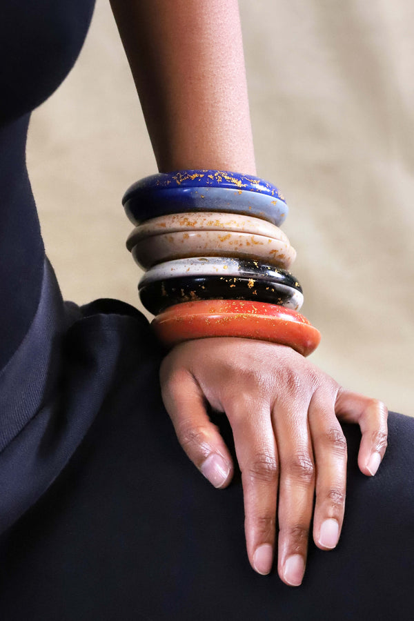 big huge statement bracelet Esthela bangle indigo blue marbled coral red beige color