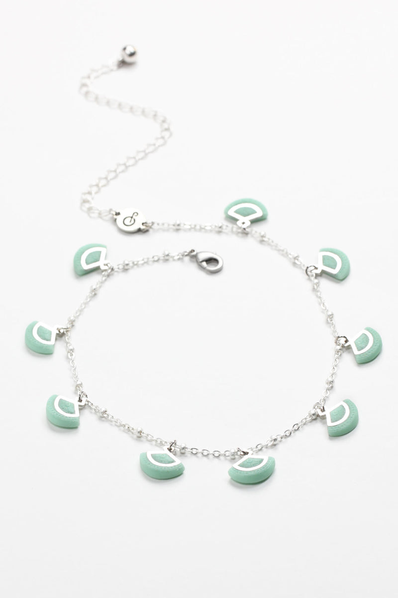 St-Jacques, luxury charms necklace handmade in Montreal with hypoallergenic stainless steel and mint green colored resin