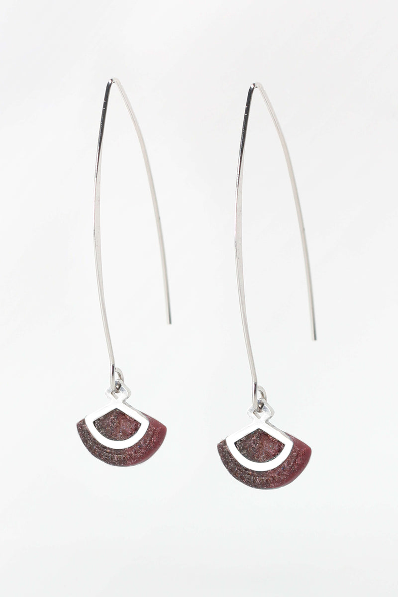 St-Jacques, light shell-shaped earrings handmade in Montreal with burgundy red resin and hypoallergenic stainless steel