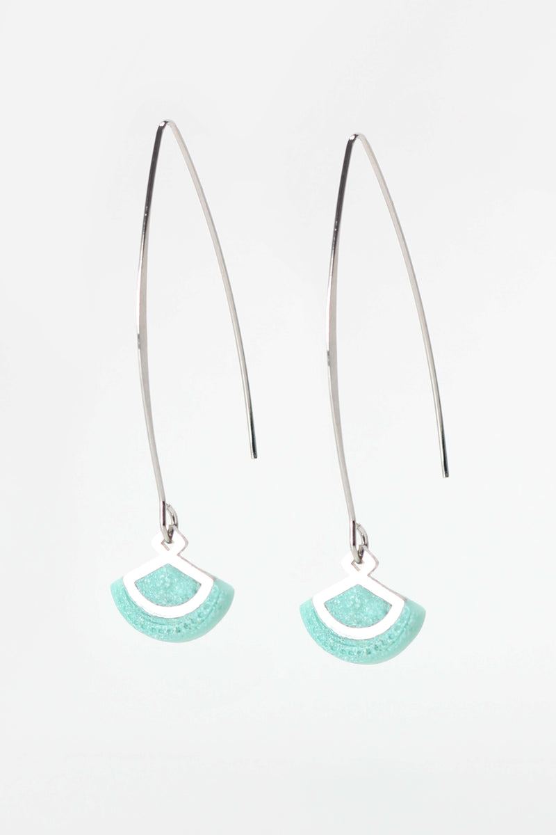 St-Jacques, light shell-shaped earrings handmade in Montreal with mint green resin and hypoallergenic stainless steel