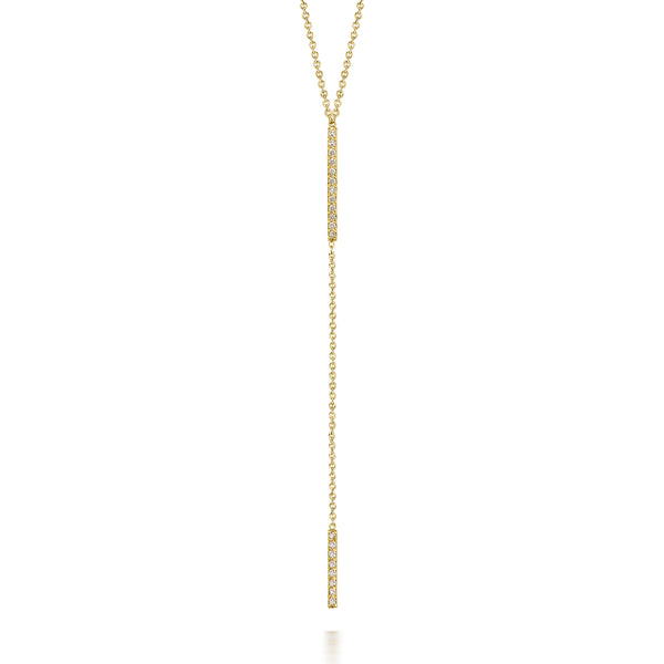 14k Diamond Double Bar Lariat