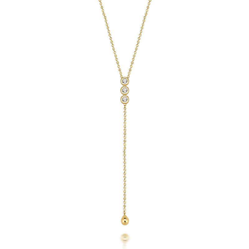 14k Trio Diamond Lariat
