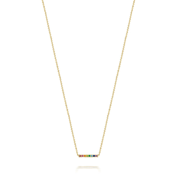 14k Small Rainbow Gemstone Bar Necklace