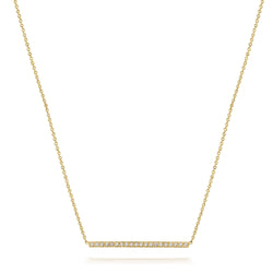 14kt Large Diamond Bar Necklace