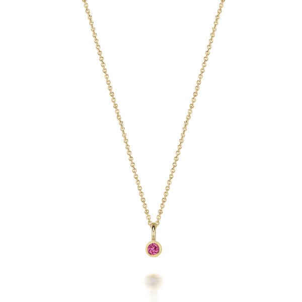 14kt Pink Tourmaline Gemstone Necklace