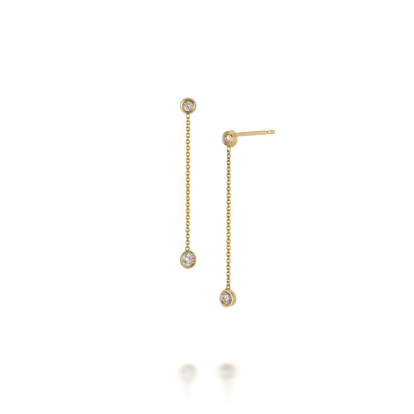 14k Drop Diamond Earrings
