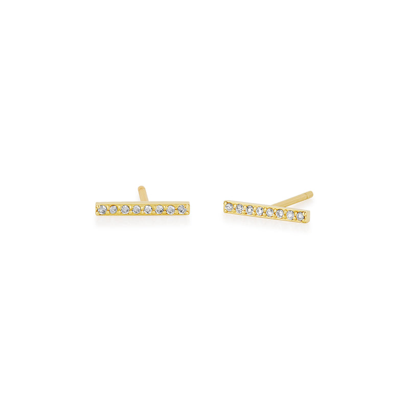14kt Medium Diamond Bar Stud Earrings