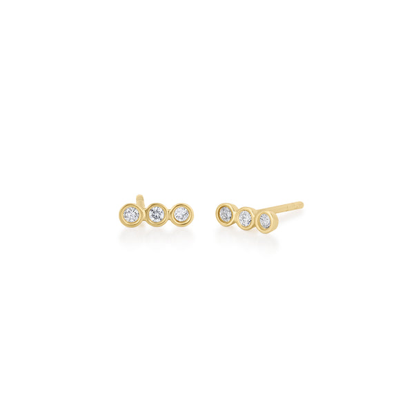 14kt Trio Diamond Earrings