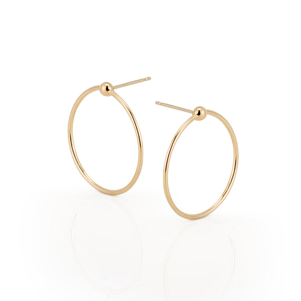 14k Gold Bead Hoops