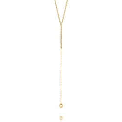 14k Large Diamond Bar Lariat with Ball