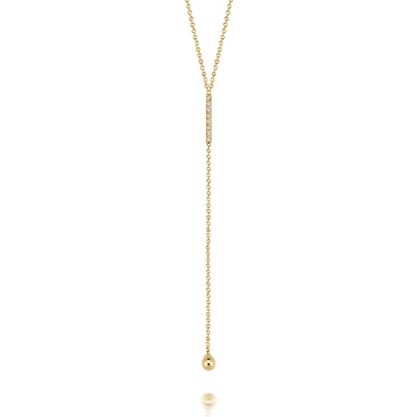 14k Diamond Bar Lariat