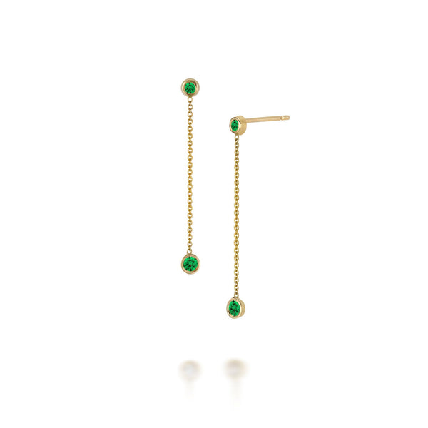 14k Drop Emerald Earrings