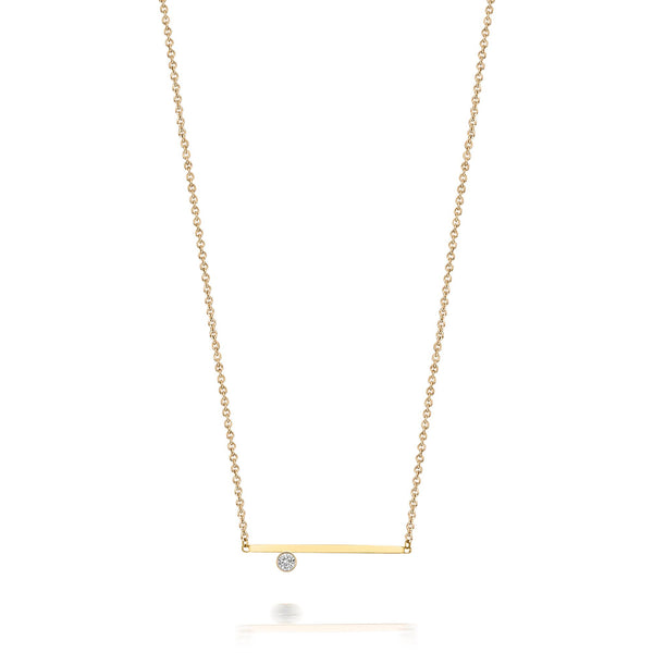 14kt Solitaire Diamond Bar Necklace