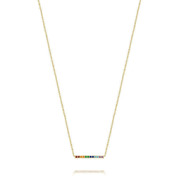14k Medium Rainbow Gemstone Bar Necklace