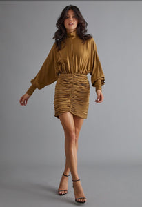 Gold Silk Ruched Dress