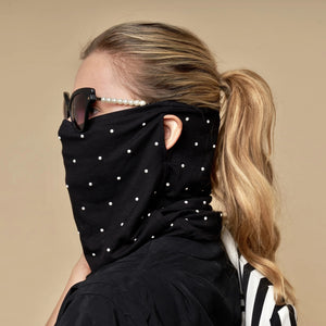 Lele Sadoughi Gaiter Face Mask - Black with Pearls