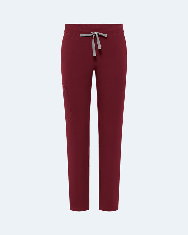 Nishkama - 9 Pocket Straight Leg Scrub Pants Wine