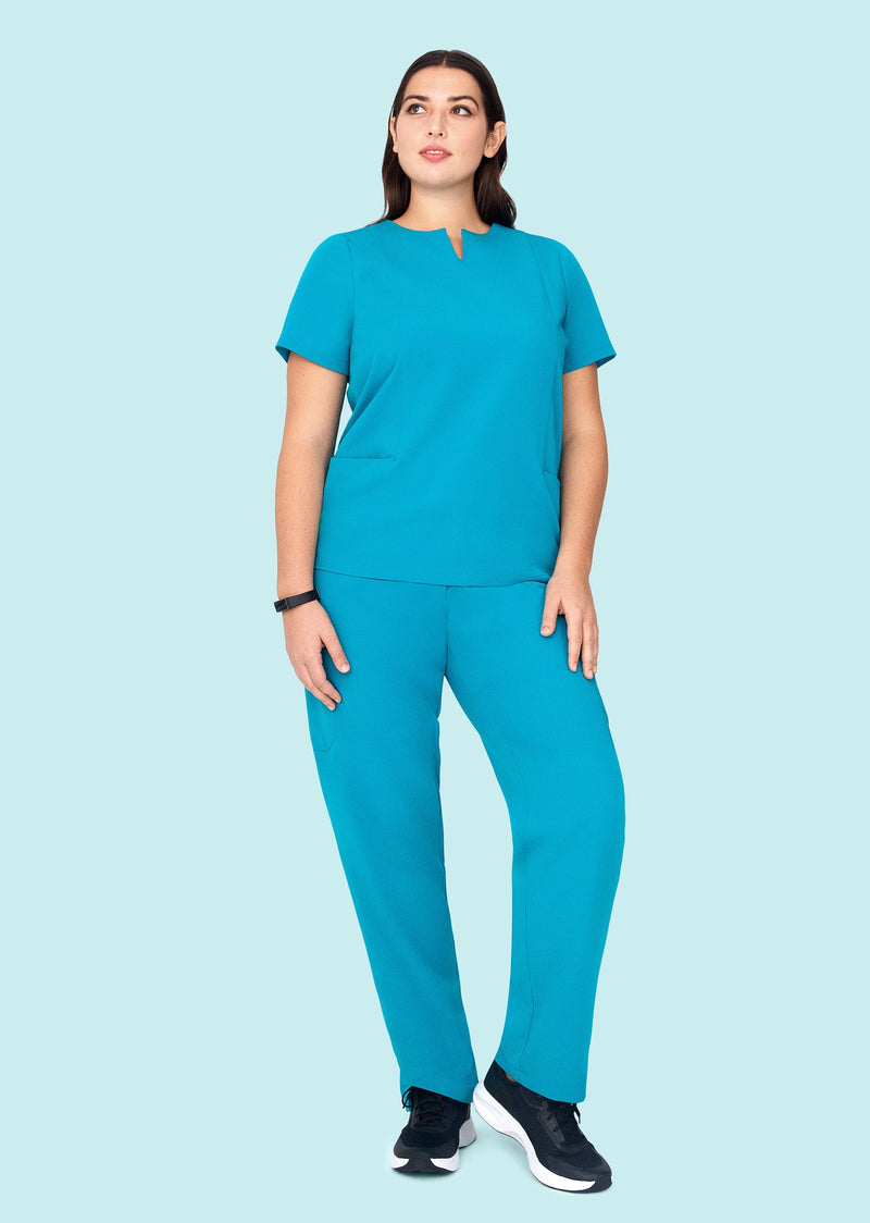 5 Pocket Notch Neck Top Teal
