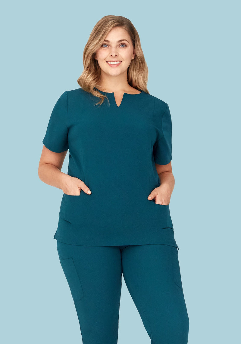 5 Pocket Notch Neck Top Caribbean Blue