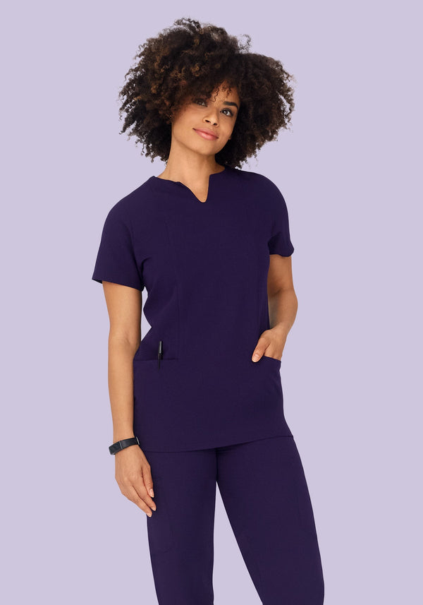 5 Pocket Notch Neck Top Eggplant