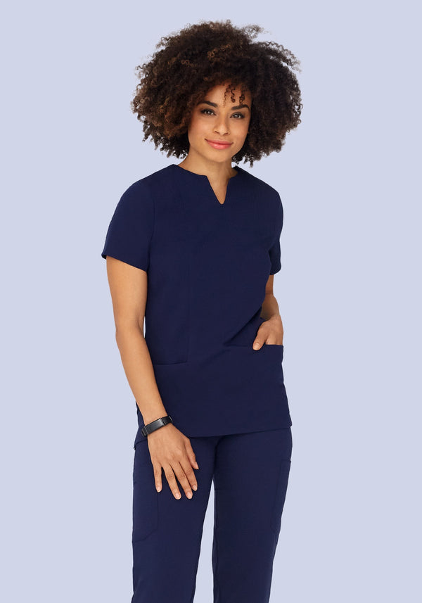 5 Pocket Notch Neck Top Navy