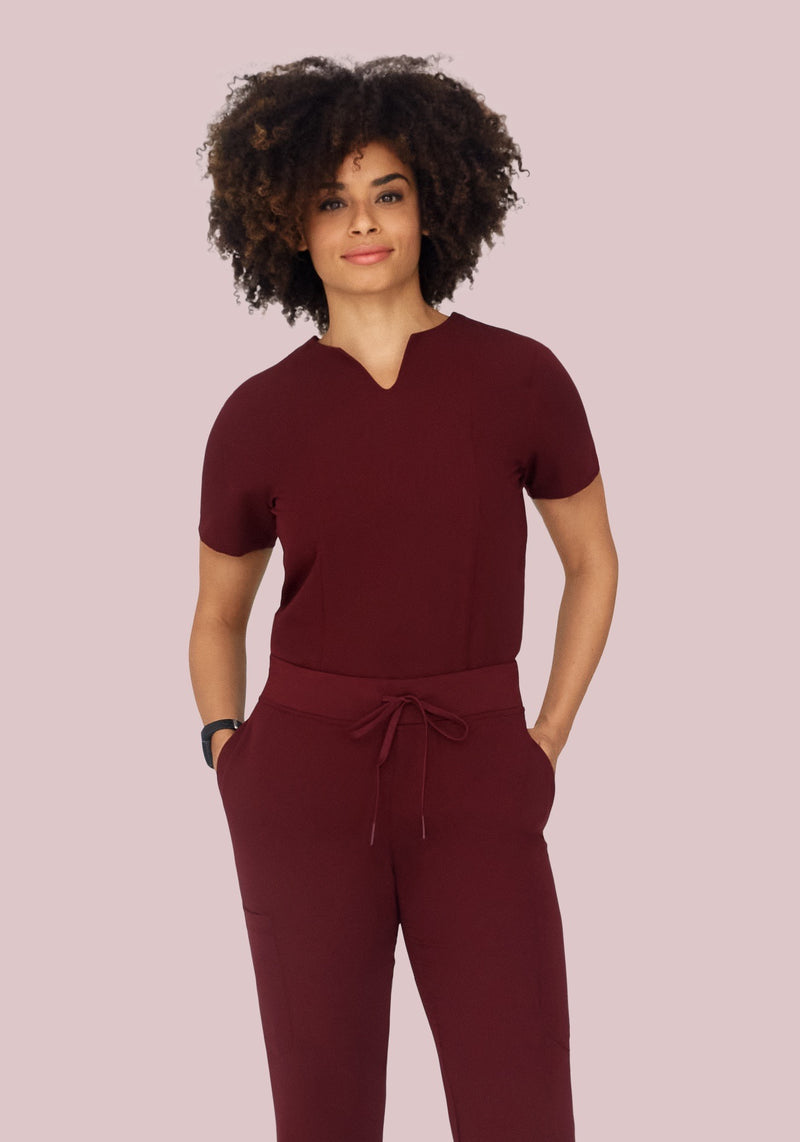 5 Pocket Notch Neck Top Wine