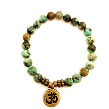 Load image into Gallery viewer, African Turquoise Jasper Charm Bracelet