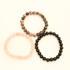 Pink Ebony Bracelet Set - Rhodonite, Rose Quartz, Black Onyx