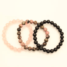 Load image into Gallery viewer, Pink Ebony Bracelet Set - Rhodonite, Rose Quartz, Black Onyx