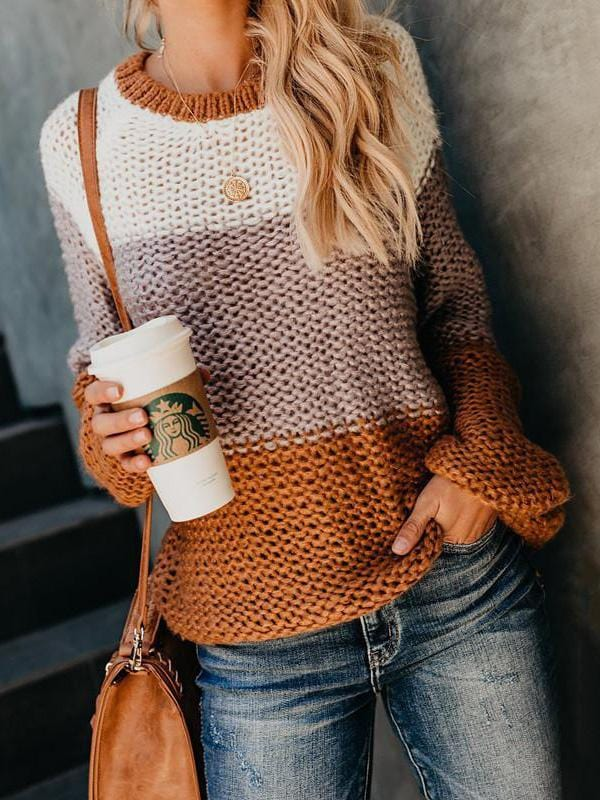 Contrast Color  Pullover Long Sleeve Sweater
