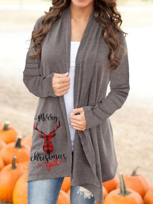 Women's Christmas Elk Solid Color Casual Cardigan