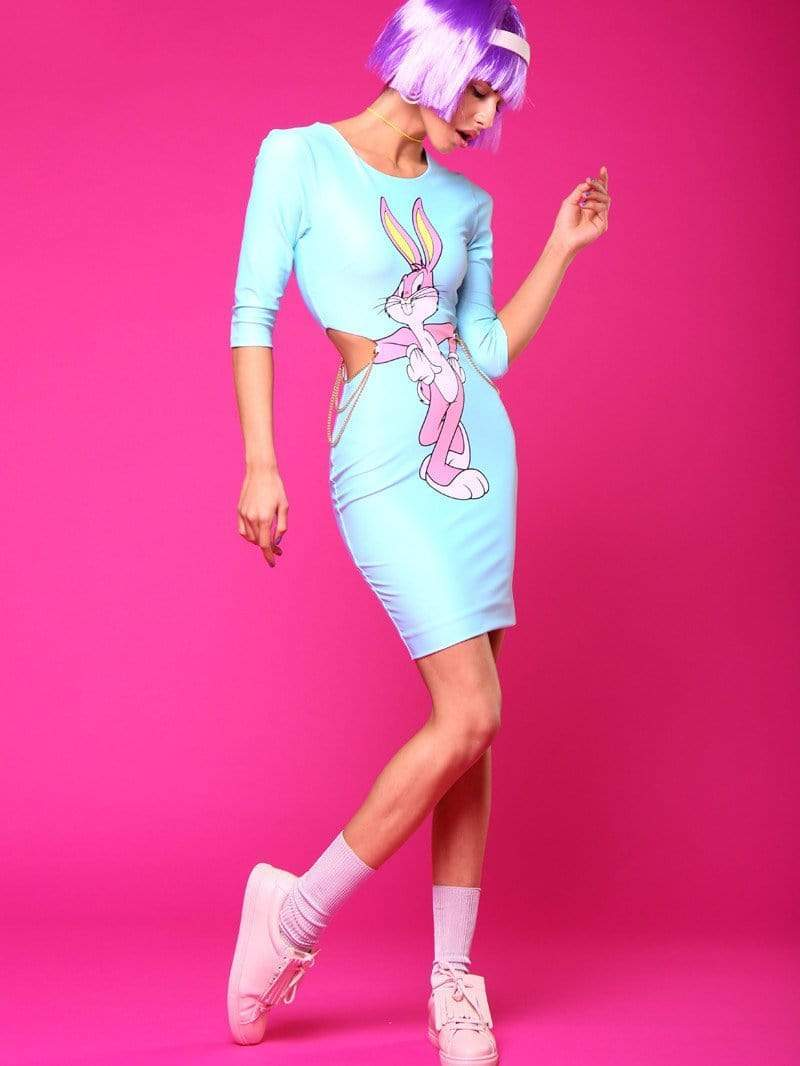 Bugs Bunny Printing Hollow Out Dress