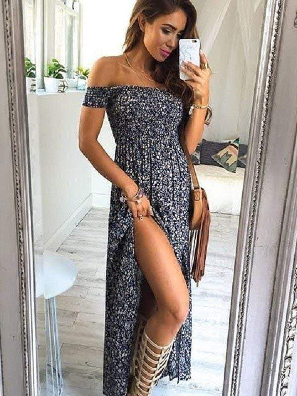 Fashion Printing Off-The-Shoulder Long Dress