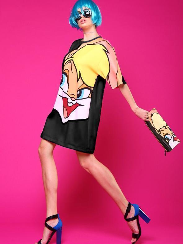 Cartoon Printing Long T-shirt Dress