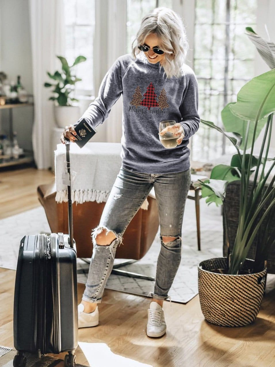 Women's Christmas  Printed Casual Sweatshirt