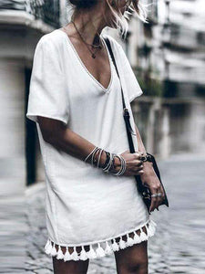 Fashion Tassels White Dress